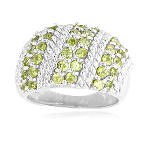 Silvershake Natural Natural Sphene White Gold Plated 925 Sterling Silver Rope Ring Size ()