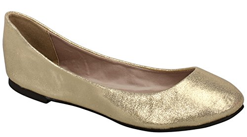 Breckelles Kvinna Rund Tå Balett Platta Skor Guld