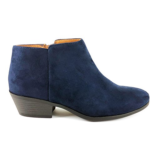 SODA Women's Round Toe Faux Suede Stacked Heel Western Ankle Bootie Navy (8 B(M) US, NVAY IMSU) (Thick Sole Booties)