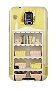 1368370K33421072 Durable Defender Case For Galaxy S5 Tpu Cover(girls Room With White Bookshelf)