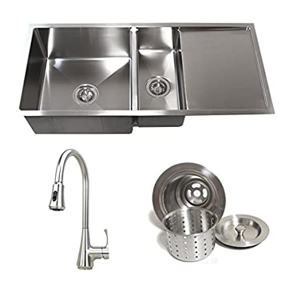 42 Inch Stainless Steel Undermount Double Bowl Kitchen Sink with ...