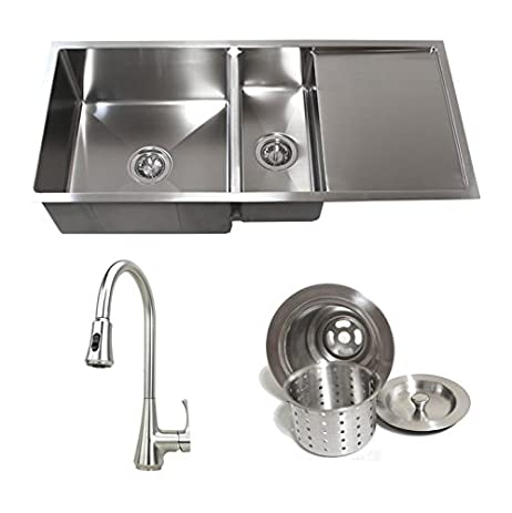 42 inch stainless steel undermount double bowl kitchen sink with drain board builders combo 3 42 inch stainless steel undermount double bowl kitchen sink with      rh   amazon com