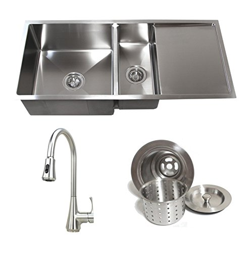 42 Inch Stainless Steel Undermount Double Bowl Kitchen Sink with Drain Board Builders Combo 3