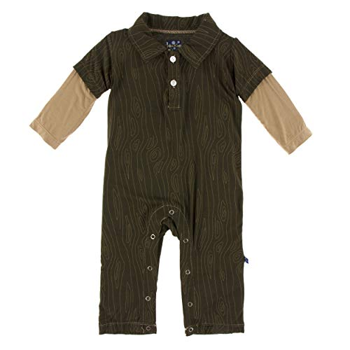 KicKee Pants Print Long Sleeve Double Layer Polo Romper (6-12 Months, Petrified Wood)