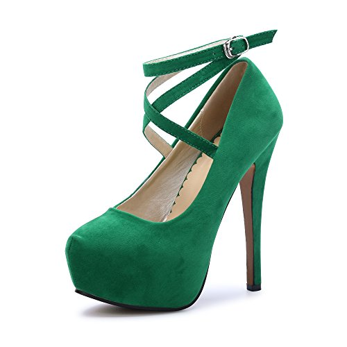 Green Leather Pumps - Women's Ankle Strap Platform Pump Party Dress High Heel #10 Green Tag 40 - US B(M) 8
