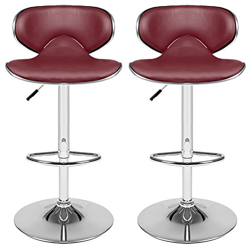 Homdox Bar Stool Adjustable Synthetic Leather Swivel Bar Chairs, Set of 2(Wine Red) (Tall Stool 34 Swivel)