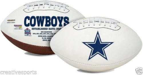 Dallas Cowboys Embroidered Full Size Signature Series Logo Football with Super Bowl Logos and Scores Commemorative Dallas Cowboys Super Bowl