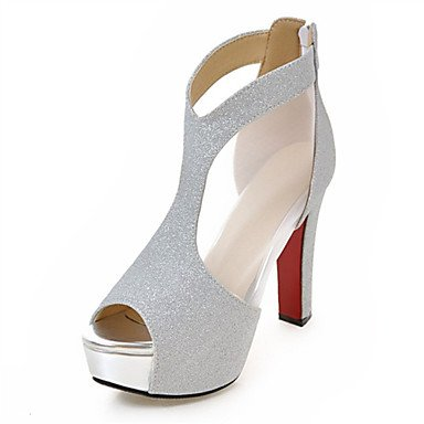 del Negro sliver Informal LvYuan Vestido Mujer Confort Zapatos Materiales club Sandalias Tacón Innovador Robusto Exterior Personalizados Purpurina vqIxqwaZ