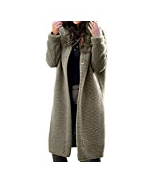Womens Cable Knit Long Cardigan Hooded Warm Coat Pullover Sweater