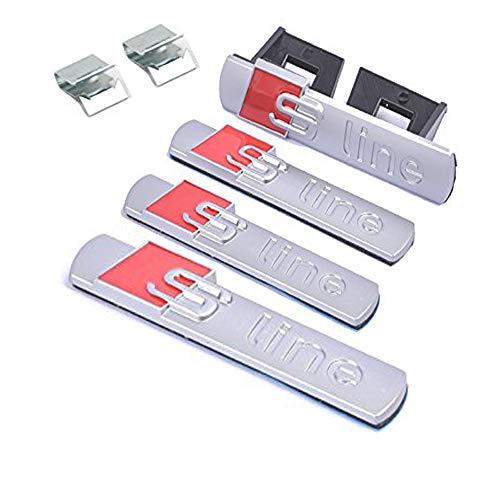 4pcs S Line Sline Car Blade Side Fender Sticker +Grille Badge+trunk Emblem Replacement for Audi A4 A6 A8 Q5 Q7 Tt Logo (Silver) – Go4CarZ Store