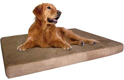 "dogbed4less Extra Large True Orthopedic Gel Memory Foam Dog Bed, Waterproof Liner and Durable Brown Cover, XL 47X29X4 Inch Fit 48""X30"" Crate"