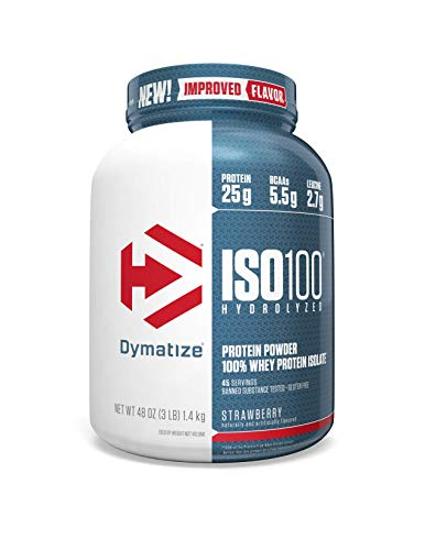 Dymatize ISO 100 Whey Protein Powder Isolate, Strawberry, 3 Pound