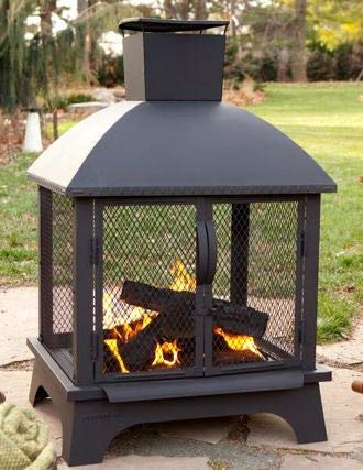 By Outdoor Design Wood Burning Fireplace, Stainless Steel Fire Pit|With Chimney