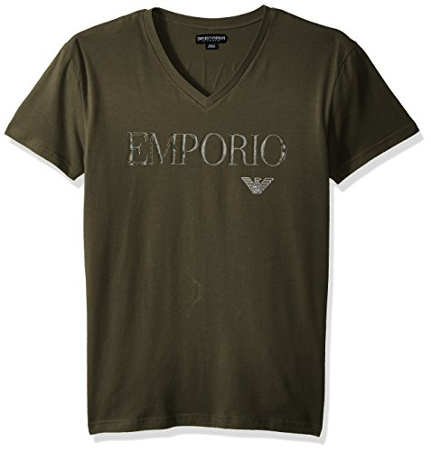 Emporio Armani Men's Megalogo V-Neck T-Shirt, Military, M - Armani Green Mens T-shirts