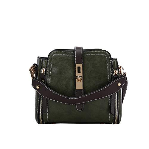 - Cute Small Leather Bag Women Vintage Style Cross Body Shoulder Handmade Purse Fashionable One-Shoulder Handbag Memela (Green)
