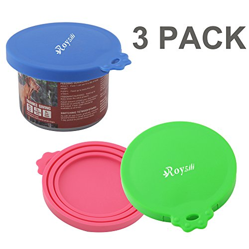 Roysili 3 Pack Dog Cat Food Can Cover, BPA Free Silicone Pet
