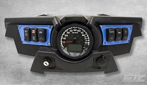 STV Motorsports Custom Aluminum Blue Dash Panel for Polaris RZR XP 1000 with 4 Laser Rocker Switches (Cnc Motorsports)