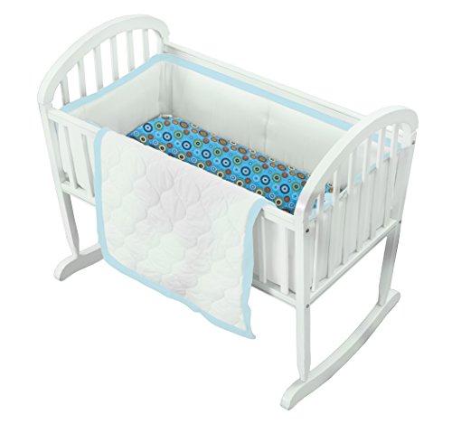 Baby Doll Medallion 3 Piece Cradle Bedding Set, Blue ()