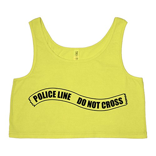 Police Line Do Not Cross Bright Neon Yellow Womens Crop Tank - X-Small / Small -