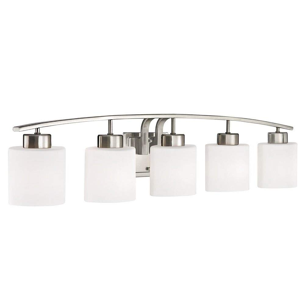 Bathroom Wall Light with White Oval Glass – Five Lights