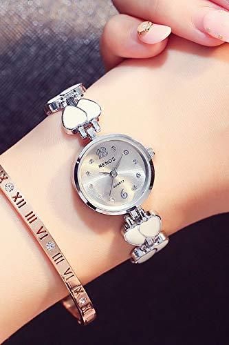 Miss lei nuoshi Unique Women Gift Fashion Watch Small dial disc Electronic Waterproof Watch Elegant Quartz Watch (Silver Transfer Table Send e +