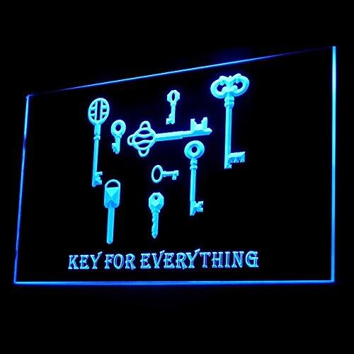 KEY Unlock Locksmith Keychain Hole Secure Padlock Locker LED Light Sign 200061 Color Blue