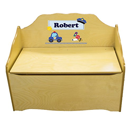 Personalized rtdPolice Childrens Natural Wooden Toy Chest by MyBambino