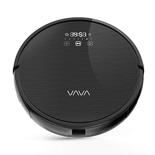 VAVA Robot Vacuum Cleaner Motion Autopilot 2nd Gen Gyroscope Navi, 1300Pa Strong Suction, Sweeping Robot for Hard Floors to Medium and Low Pile Carpets (Mini) (Black)