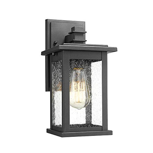 Emliviar Outdoor Wall Sconce, 1-Light Exterior Wall Lantern in Black Finish with Clear Seeded Glass, OS-1803EW1
