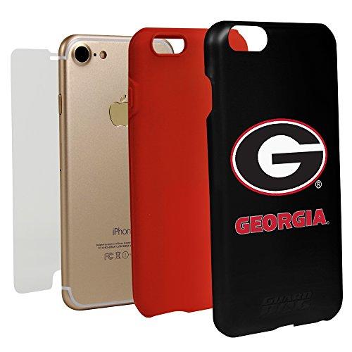 Guard Dog Black Hybrid Case for iPhone 7/8 and Guard Glass Screen Protector (Georgia Bulldogs)