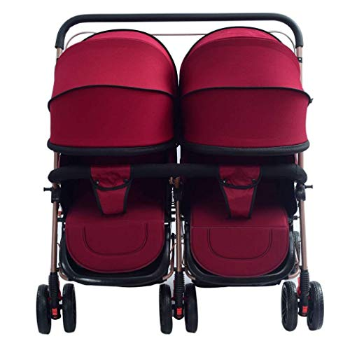 Zsail Baby Carriage Foldable Side by Side Stroller Two-Way Together Double Stroller High View Tandem Stroller Lightweight Travel Buggy System (Color : Wine red)