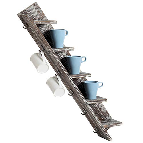MyGift 11-Cup Rustic Torched Wood Wall-Mounted Mug Rack ()