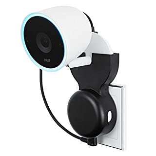 Wasserstein AC Outlet Mount Compatible with Nest Cam IQ Indoor - 130-Degree Swivel Wall Plug Mount with No Messy Wires or Screws (White)