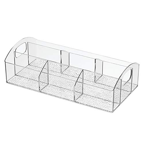 iDesign Med+ BPA-Free Portable Plastic Divided Organizer 7 Compartment Storage Tray with Handles for Bathroom, Countertop, Vanity, Makeup, Lotion, First Aid, Medicine-Clear