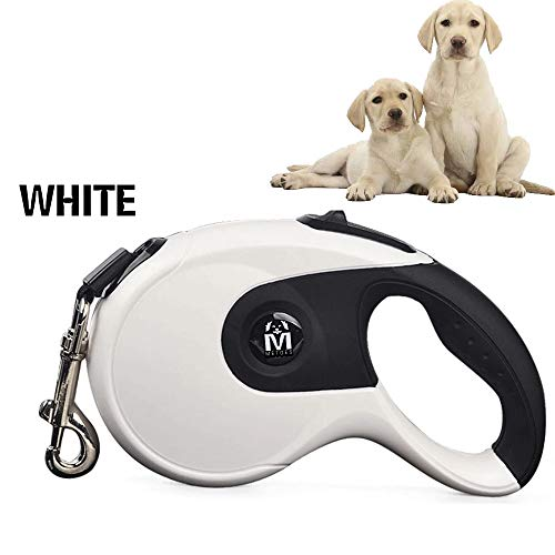 (METOES Retractable Dog Leash,16ft Dog Walking Leash for small, medium and large dogs or cats, up to 110 lbs,No tangle,One-Button latch(White))