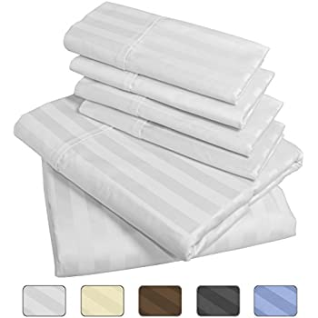 American Pillowcase 100% Egyptian Cotton Luxury Striped 540 Thread Count 6-Piece Sheet Set with Wrinkle Guard - King, White