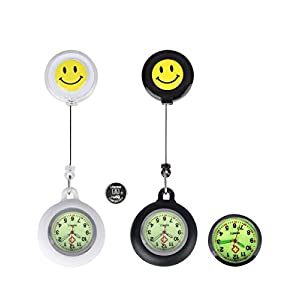 Nurse Fob Watch for Nurses Doctors,Clip On Luminous Retractable Glow in Dark Paramedic Unisex Digital Pocket Watches with Extra Battery,Medical Silicone Case,Men Women Gift