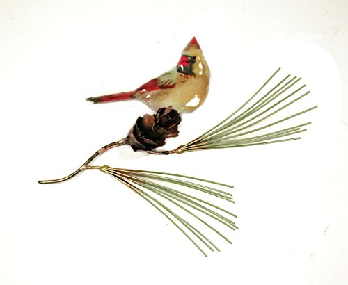 Bovano Wall Sculpture - Female Cardinal on Pine Needles with Pine Cone made in New England