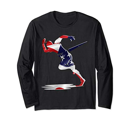 (American Flag US Runner Sprinter Awesome Track & Field Gift Long Sleeve T-Shirt)