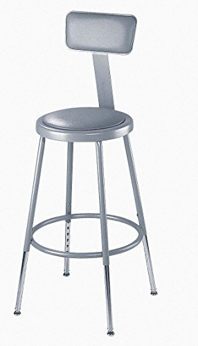 National Public Seating 6424HB  Grey Steel Stool with Vinyl Upholstered Seat Adjustable and Backrest, 25