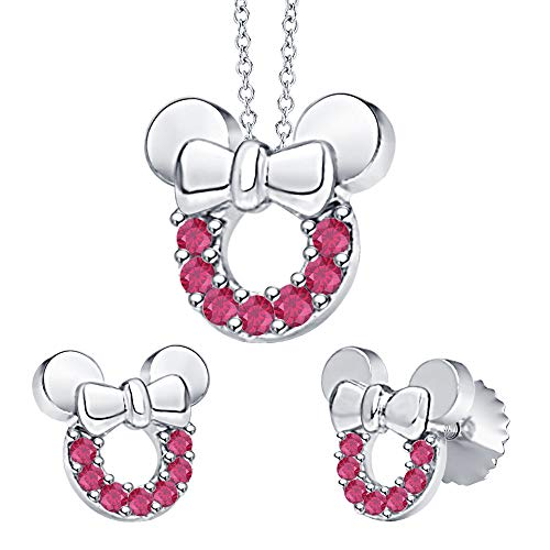 tusakha Minnie Mouse Bow Pendant Necklace Earrings Set Ruby .925 Sterling Silver for Womes Girls