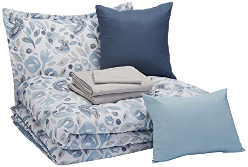 AmazonBasics 8-Piece Comforter Bedding Set, Twin / Twin XL, Blue Watercolor Floral, Microfiber, Ultra-Soft