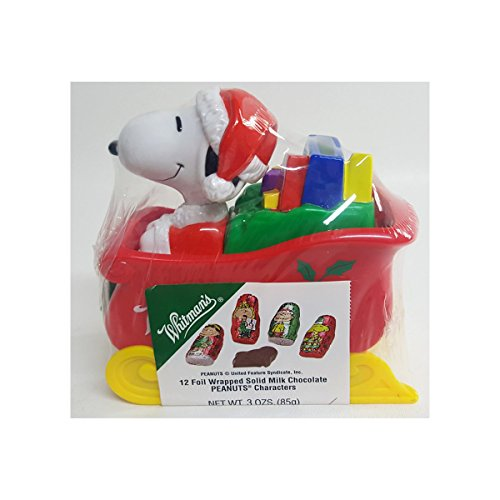 Peanuts Whitman's Christmas Snoopy & Woodstock Sleigh Coin Bank w/Chocolate Peanuts Characters Candy 3 oz. Collector Item (Peanut Coin Bank)