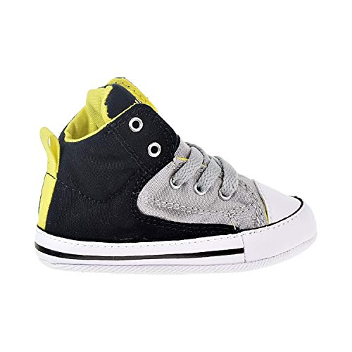 Converse Boys' First Star HIGH Street Gray-K, Black/ash Grey/Fresh Yellow, 3 M US Infant (Lace Shoes Converse Crib Up)