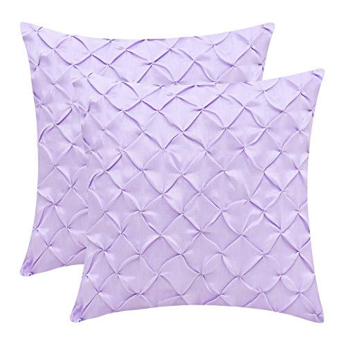 Lavender Throw Pillow Cases (Faux Silk, Pinch Pleat, 14x14 inch, Pack of 2)