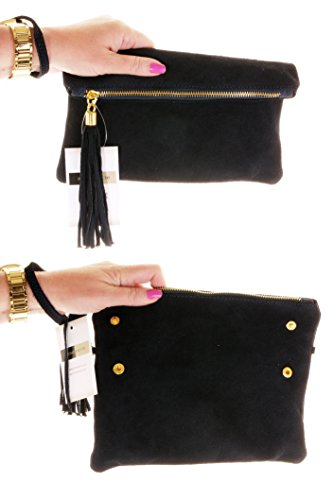 Black Protective Leather Suede Storage Shoulder Made or Branded Wrist Bag Italian Fold Over Clutch Hand Bag HZ7nnq5Aw
