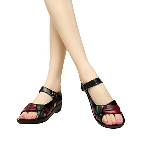 YoungSoul Women's Open Toe Bow Front Sandals Comfortable Summer Flat Shoes Black JTZSV