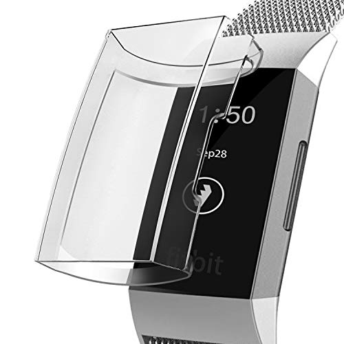 YiJYi Compatible with Fitbit Charge 3 Screen Protector, Soft Slim Full-Around Protective Fitbit Charge 3 Case Cover for Fitbit Charge 3 and Fitbit Charge 3 SE, Clear