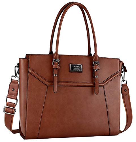 MOSISO Laptop Tote Bag for Women (Up to 17.3 Inch), Premium PU Leather Business Work Travel Shoulder Handbag with Thick Shockproof Compartment & Adjustable Top Handle Compatible MacBook&Notebook,Brown - Notebook Laptop Bag