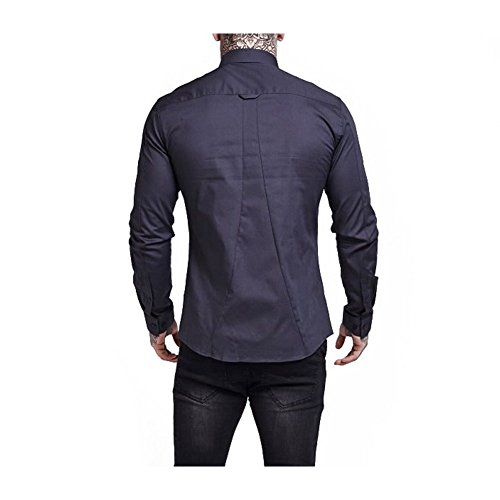 Sik Silk Camicia Maniche Lunghe SikSilk – Fitted Cotton Stretch Grigio Formato: XS (X-Small)